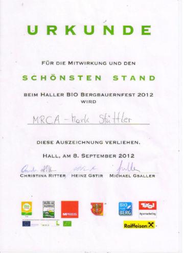 Urkunde für den schönsten Stand beim Biofest in Hall i. T.